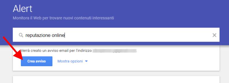 monitorare Reputazione online google alert