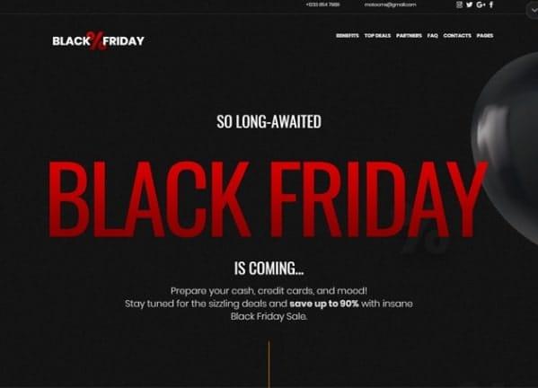landing page per black friday